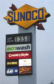Canada's highest gas price of 2008