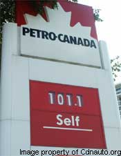 Petro-Canada gas station - gas prices hit record highs in Ontario